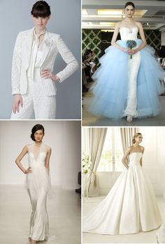 Bottom right dress is beautiful. 2013 wedding dress trends peplums pockets pants sheaths