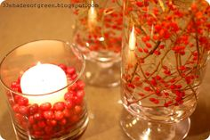 Holiday ambience: Floating candles with branches & berries in water, could use any type branch cuttings... rose hips, bittersweet, winterberry. Could even use pine branches, holly, etc for Christmas.