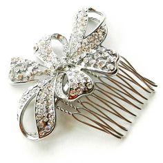 Vintage bow wedding hair comb . £31.99