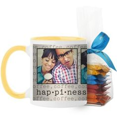 Happiness Mug, Yellow, with Ghirardelli Minis, 11 oz, Beige