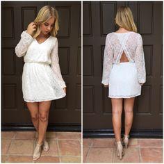 Sugar Lace Long Sleeve Dress In White