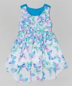 Another great find on #zulily! Blue Butterfly Chiffon Hi-Low Dress - Toddler & Girls by Youngland #zulilyfinds