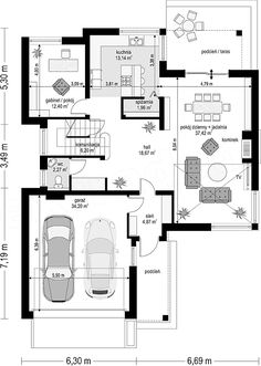 Two Story House Design with 2 Car Garage and Basement - House And Decors 2bhk House Plan, Model House Plan, Dream House Plans, House Floor Plans, Two Story House Design, House Front Design, Modern House Design, Detail Architecture, Architecture Plan