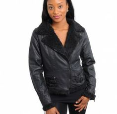 Ladie's Black Synthetic Leather Jacket/Coat S/M/L by Solitare by Ravi Khosla - Smoky Mountain Boutique | Smoky Mountain Boutique