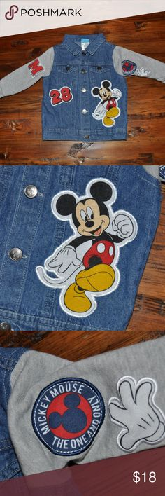 DISNEY Mickey Mouse Patch Embellished Jean Jacket size 18M condition: like new color: blue | gray  patches button front jean jacket style w/sweatshirt sleeves  @cjrose25  More kids clothes in my Posh closet. Bundle your likes for a discount & save on shipping. Disney Jackets & Coats Jean Jackets