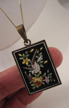 RARE Victorian Micro Mosaic Memorial Mourning Locket Pendant with Dove GF | eBay