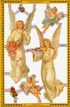 Victorian Christmas Angels and Cherubs Paper Scraps