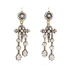 A pair of antique old mine diamond earrings, with cluster-form tops suspending négligée-style pendants, in 18K gold and silver. Atw. 5.24 ct. old mine cut and rose cut diamonds.  Circa 1860