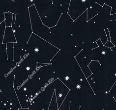 Black Stars & Constellations, Constellations by Andover Fabrics & Lizzy House