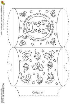 Dessin à colorier d'une pochette de Noël, renne et décorations - Hugolescargot.com