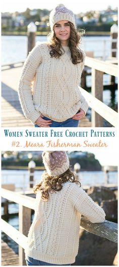 Meara Fisherman Cabled Sweater Crochet Free Pattern - Fall Winter Women Sweater - Crochet and Knitting - Sweaters Beau Crochet, Pull Crochet, Knit Crochet, Crochet Jumpers, Crochet Sweaters, Crochet Tops, Crochet Vests, Knit Tops, Crotchet