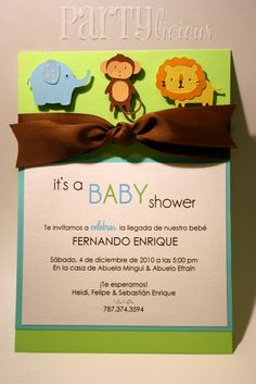 handmade monkey invitations for boys | Partylicious: {Partylicious} and Safari Baby Shower