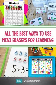 All the Best Ways to Use Mini Erasers for Learning. Mini eraser activities are fun for kids and great for learning. Make a collection of these adorable (and affordable) erasers and get started! #classroomsetup #classroomsupplies #teaching #teacher #teachingresources #creativesolutions Learning Sight Words, Learning Numbers, Learning Letters, Fun Math, Math Activities, Math Resources, Classroom Supplies, Classroom Ideas, Discounts For Teachers