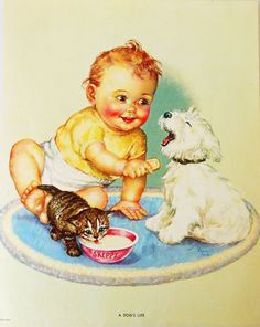 Charlotte Becker -A Dog's Life-baby with puppy and kitten.