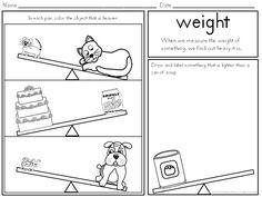 Kindergarten Measurement- Common Core: weight, height, capacity, width, length, sorting, non-standard, comparison