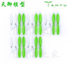 20 pcs transparan jelas dan hijau baling-baling baling-baling untuk hubsan x4 h107l h107c h107d rc mainan suku cadang untuk quadcopter h201e