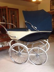 Genuine-Vintage-Silver-Cross-Pram-Coach-Built-Pram-In-Very-Good-Condition