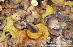 Cartofi cu ciuperci la cuptor Meatless Recipes, Mozzarella, Stuffed Mushrooms, Chicken, Vegetables, Food, Eten, Meals