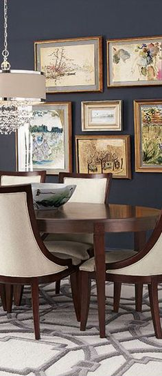 Shop Allerton Dining Table & Lela Eglomise Dining Chairs from John-Richard Collection at Horchow, where you'll find new lower shipping on hundreds of home furnishings and gifts. Green Dining Room, Dining Room Paint, Dining Room Design, Dining Rooms, Dining Set, Dining Decor, Dining Tables, Fine Dining, Leather Dining Chairs