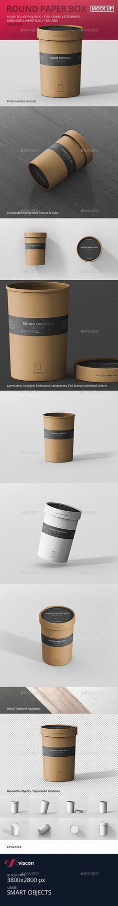Ou uma embalagem que vira copo para tomar o café   Paper Box Mockup Round - Large Size by visconbiz Pixel Perfect Round Paper Box MockupEasy to customize large size round paper box mockup for print design, portfolio, showcase