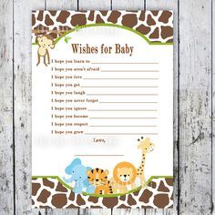 Safari Baby Shower Game - Wishes For Baby - Printable file - Matching Invitation available