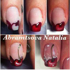 New nails diy tutorials short hair Ideas Painted Nail Art, Acrylic Nail Art, Gel Nail Art, Nail Manicure, Diy Nails, Fruit Nail Designs, Crazy Nail Designs, Nail Art Designs, Cherry Nail Art