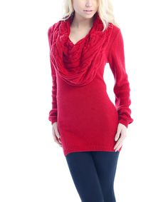 Take a look at the Red Cable-Knit Cowl Neck Sweater on #zulily today!