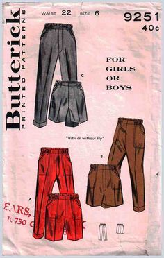 """Butterick Sewing Pattern 9251 Boys / Girls Pants in two lengths Size: 6 Waist 22"""" Used"""