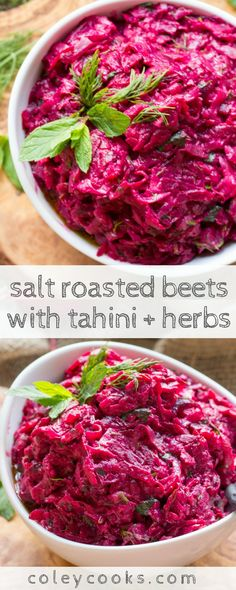 SALT ROSTED BEETS with TAHINI + HERBS | This easy recipe from the Zahav cookbook is vegan, gluten free, paleo and makes the best, most flavorful side dish! #vegan #glutenfree #paleo | ColeyCooks.com