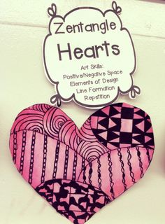 GREAT project for Valentine's Day! Step by Step instructions for your students to make ZENTANGLE HEARTS!!!