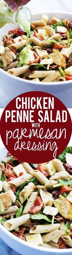 Chicken Penne Salad with Creamy Parmesan Dressing | Creme de al Crumb