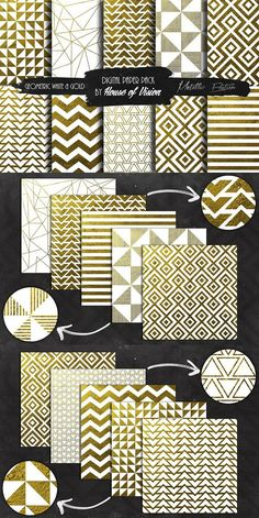 Geometric Wht and Gold Pack. Patterns