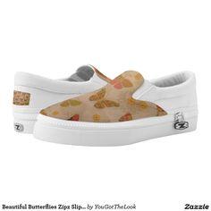 Beautiful Butterflies Zipz Slip On Shoes, US Women Printed Shoes