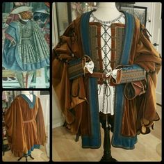 Italian Cioppa with tabbed sleeves ca. 1500. Materials : teal wool and tawny velvet.  Reproduction made by Angela Mombers