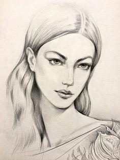 Fashion Illustration ORIGINAL  Bild Portrait Frau  von narteck
