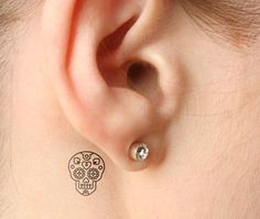 Tiny Little Sugar Skull Tattoo for Women