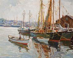"""Gloucester Harbor,"" Camillo Adriani, oil on canvas, 26 x 32"", private collection."