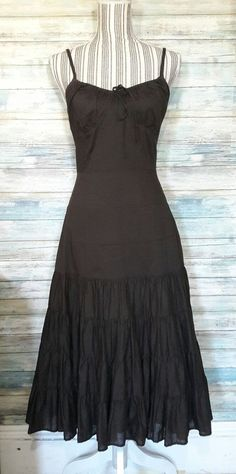 ANN TAYLOR LOFT BROWN BROOMSTICK WESTERN BOHEMIAN BOHO TIERED DRESS NEW SZ 8 #AnnTaylorLOFT #TieredFittedSheathSundress #Casual