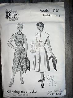 Vintage Symönster Klänning med jacka Klipp m.. (412754318) ᐈ Köp på Tradera Swedish Sewing, Vintage Sewing Patterns