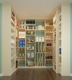 Contemporary Pantry with Built-in bookshelf, Hardwood floors, Closet Factory Custom, High ceiling