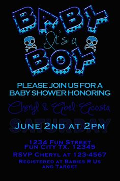 Boy Skull Baby Shower Invite