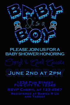 Boy Skull Baby Shower Invite