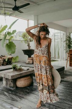 Floral Print Boho Maxi Dress - Long bohemian dress, hippie style women clothing Source by - Mode Hippie, Mode Boho, Hippie Dresses, Boho Dress, Boho Maxi Dresses, Hippy Dress, Boho Summer Dresses, Bohemian Summer, Summer Chic
