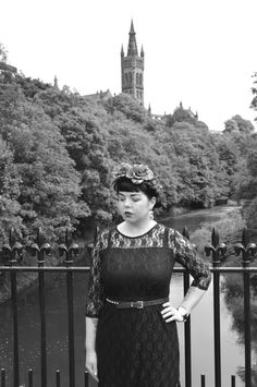 Wearing a Black Lace Dress by Rare London and Meadow Garland by Crown and Glory