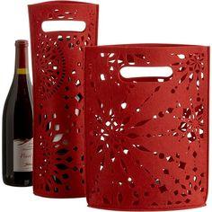 Snowburst Felt Wine Bag and Gift Bag