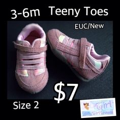 3-6m TEENY TOES Size 2 Baby Girl Tiny Little Shoes EUC $7 Buy this product right on Facebook https://admin.shoptab.net/linkbacks/222287843 Only ONE Available in Size Shown! FREE SHIPPING w/purchase of 5/items. CC, Debit & PayPal Welcome. Pick up LOCAL in La Marque Like our Facebook Page https://www.Facebook.com/GalvestonCountyBabyGirlHeaven