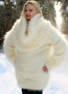Ivory Hand Knitted Mohair Sweater Fuzzy Cowlneck Handmade Dress SUPERTANYA M L | eBay