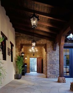 Mediterranean Home Design, Pictures, Remodel, Decor and Ideas - page 10 - cool walkway Spanish Style Homes, Spanish House, Spanish Colonial, Spanish Exterior, Outdoor Wood Flooring, Stone Flooring, Porches, Houses Architecture, Stucco Colors