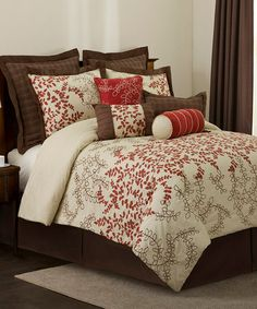 {Wheat Brown & Red Hester Comforter Set by Triangle Home Fashions} Pretty. Love the prices on #zulily. King size for $119.99...
