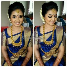 Simple and Elegant South Indian Bride - South Indian bride on budget Indian Bridal Sarees, Indian Bridal Makeup, Indian Bridal Wear, Indian Wear, Kerala Bride, Hindu Bride, South Indian Blouse Designs, Indian Look, South Indian Weddings